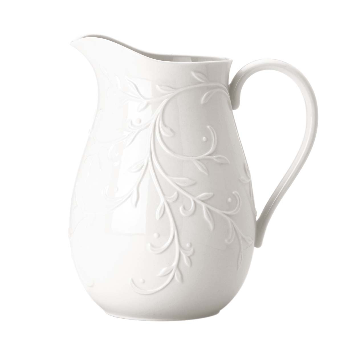 Christmas Tablescape Décor - Lenox Opal Innocence Carved Pitcher