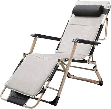 Tumbonas HAIYU- Silla Plegable, Sillón Reclinable de Ocio Ajustable con Reposacabezas Acolchado Jardin/Terraza/Balcón Exterior, Cojín Disponible (Color : Chair+Cushion): Amazon.es: Hogar
