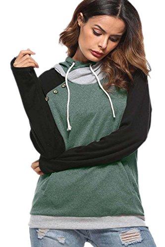 Colour Sweatshirts Femme Sweats Capuche Vert Pocket À Block xUqvTv