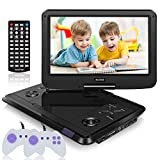 WONNIE 13.6 Inch Portable DVD Player for Kids Built-in 60 Kinds of Games, USB / SD Slot and 4 Hours Rechargeable Battery (Black)