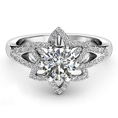 BOOBODA c002 Micro-Studded Full Zircon Flower Ring Crystal Silver Cubic Zirconia Jewelry Gift(Silver,10#)
