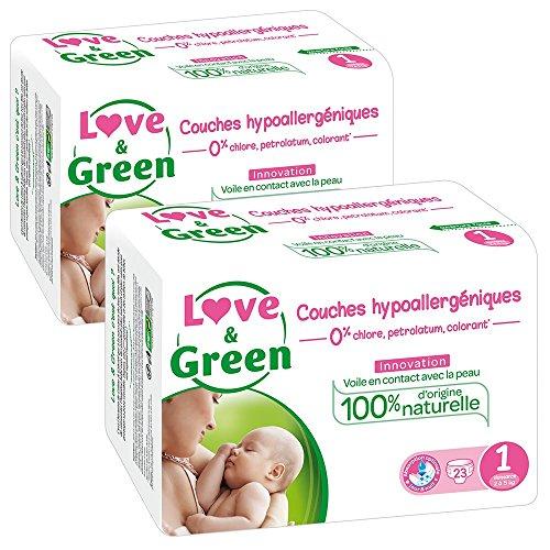 Love & Green - Pañales hipoalergénicos 0% para bebé, lote de 2 x 23 pañales (46 Pañales), talla 1: Amazon.es: Salud y cuidado personal