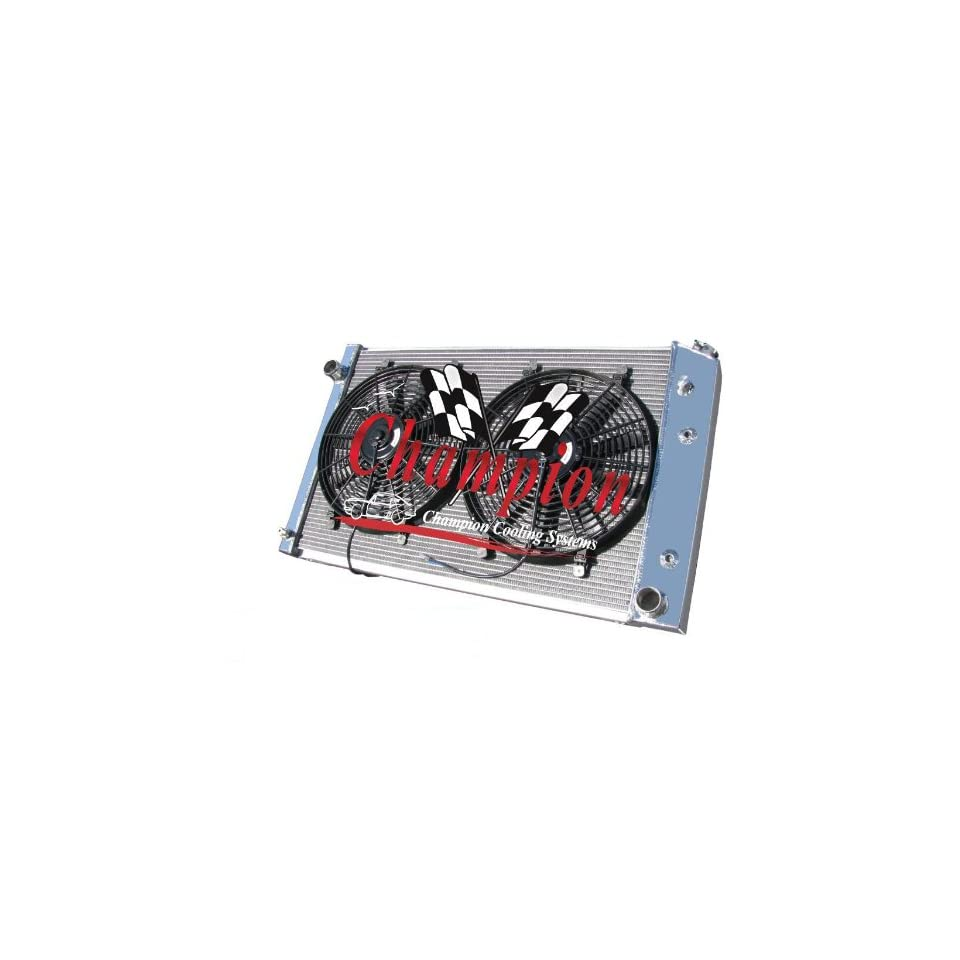 2 Row All Aluminum Replacement Radiator AND 14 Dual Fans for the 1973 1991 Chevy/GMC Blazer/Jimmy, 1973 1987 Chevy CK Series Trucks, 1973 1991 Chevy Suburban,   (Engine Size Specific Please Specify Year & Engine Size When Ordering; 250ci V8, 305ci V8, 35