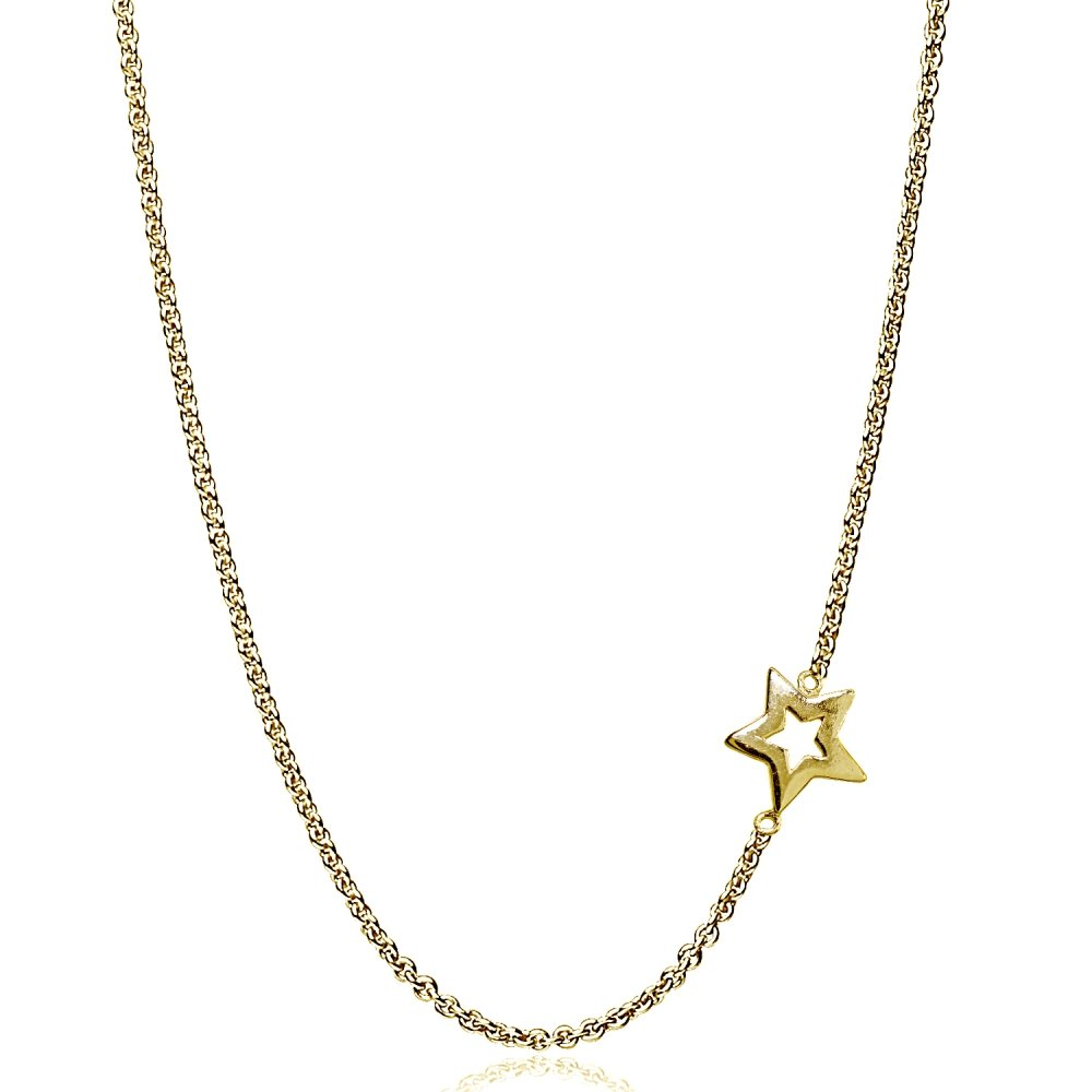 Rose Gold Flashed Sterling Silver Polished Open Star Sideways Chain Necklace, 16'' + Extender