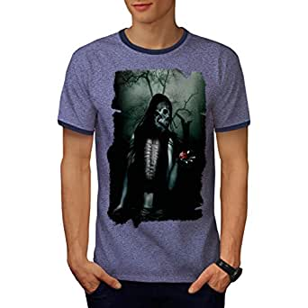 Heart Skeleton Dead Skull Men M Ringer T-shirt | Wellcoda