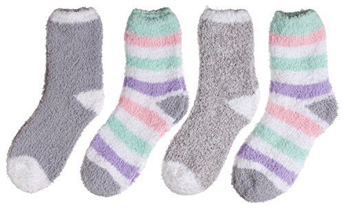 Trimfit Little Girls Microfiber Fuzzy Printed Cozy Socks 4-pack Grey-Purple-Pink (S / 7-9 sock / 9-3 shoe (Microfiber Kids Socks)
