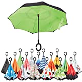 Sharpty Inverted Umbrella, Umbrella Windproof, Reverse Umbrella, Umbrellas for Women with UV Protection, Upside Down Umbrella With C-Shaped Handle (Black-Green) Review