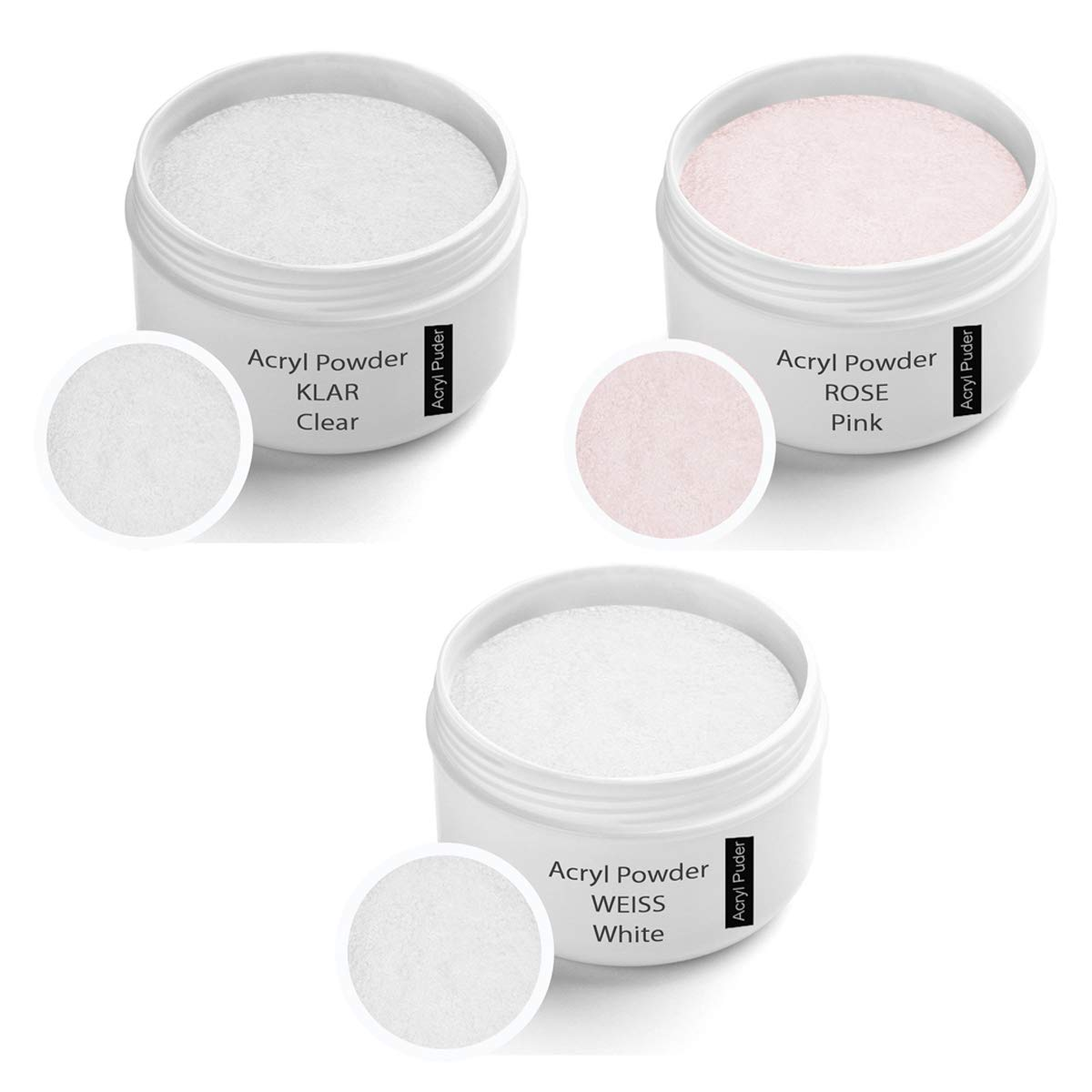 Acrylic powder Set, Clear 30g, Rose 30g, White 30