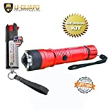 Flashlight Taser Pepper Spray Keychain Self Defense Kit (1) Police Flashlight Stun Gun (1) Hottest OC Pepper Spray .5oz Key Chain CS Tear Gas With UV Dye. Tazer Flashlight Colors Options. (RED)