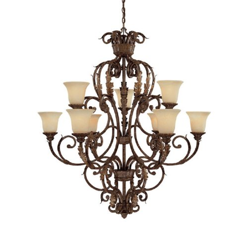 Capital Lighting 3649GU-254 Chandelier with Rust Scavo Glass Shades, Gilded Umber Finish