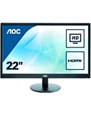 "AOC Monitores E2270SWHN - Monitor de 21.5"" (resolución 1920 x 1080 Pixels, tecnología WLED, Contraste 600:1, 5 ms, HDMI), Color Negro"