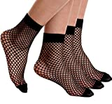 Florboom Womens Mesh Fishnet Sheer Ankle Crew Socks Pantyhose Black 3 Pack