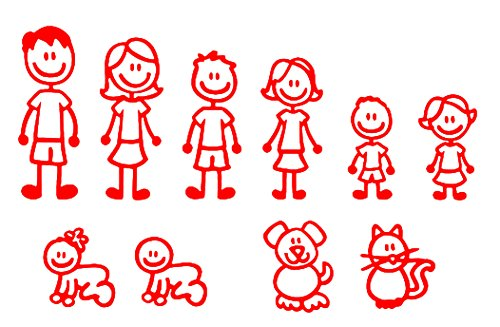 Stick Figure Designs - Nepa Designs (Red) 10 Stick Figure Family