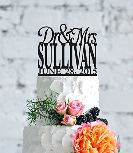 Elegant Dr And Mrs Last Name With Date Unique Personalized Perfect Engagement Gift Cake Topper For Wedding Anniversary Gifts Wedding Party Favors Cake - Cake And Toppers Dr Mrs