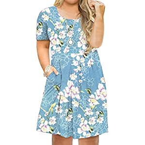 Plus Size Maxi Dress Short Sleeve Dress Casual Pleated Swing Dresses with Pockets
