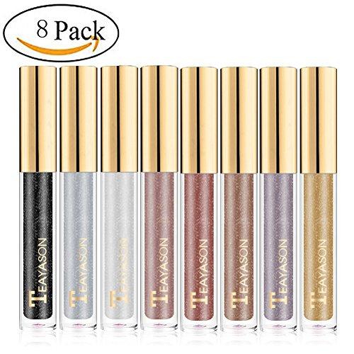 Sunsent Glitter Liquid Eyeshadow Sets, 8 Colors Long Lasting Sparkle Metals Glitter Eyeliner Diamond Eye Shadow by Sunsent