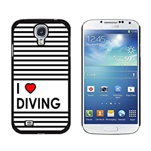 I Love Heart Diving Snap-On Hard Protective Case for Samsung Galaxy S4 - Non-Retail Packaging - Black
