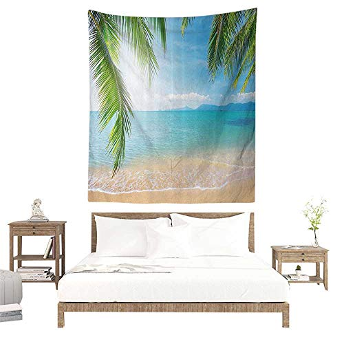- alisoso Wall Tapestries Hippie,Light Blue Tropical Picture Decor,Beach Surf Tourism and Thailand Relaxation Holiday Print,Turquoise Ecru W47 x L47 inch Tapestry Wallpaper Home Decor