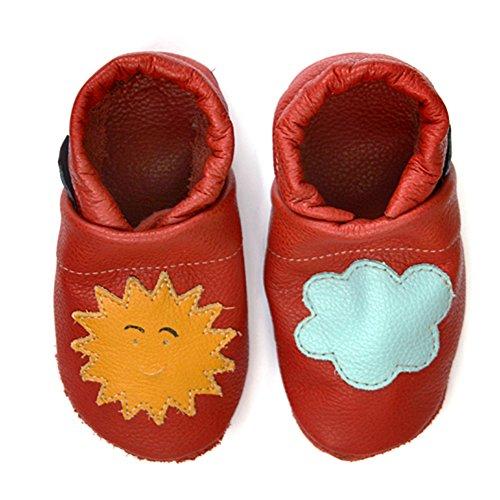 Pantau Leder Krabbelschuhe Lederpuschen Babyschuhe Lauflernschuhe mit Sonne und Wolke, 100% Leder ROT_GELB_HELLBLAU
