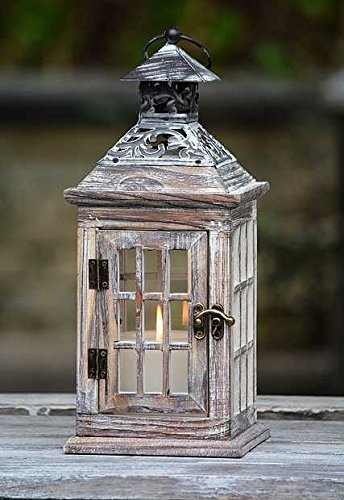 Ryocas Decorative Handmade Square White Snow Effect Natural Wooden Hanging Candle Lantern Holder - Vintage/Retro Style Elegant Look with Metal Roof, Art Decorations, Accessories & Ornaments, 13-Inch (White Wooden Lanterns Decorative)
