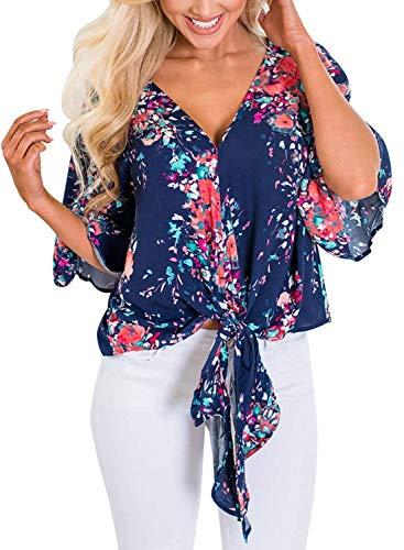Cou Vintage Chic Tops 3 Motif Chemisiers Chemise Mode V Haut Elgante Et Loisir Printemps Bouffant Femme Shirts 4 Manches 4 Nou Fleur Sx5pp6vwq