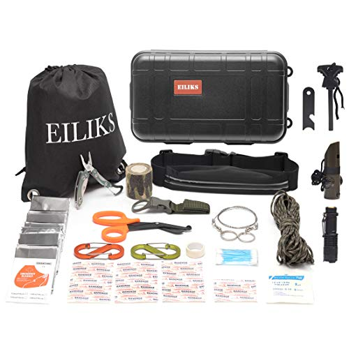 Medical Adventure Gear Kits (EILIKS First Aid Survival Kit Outdoor Emergency Kit 47 in 1 Earthquake Survival kit Trauma Bag Car Home Work Office Boat Camping Hiking Travel Adventures)