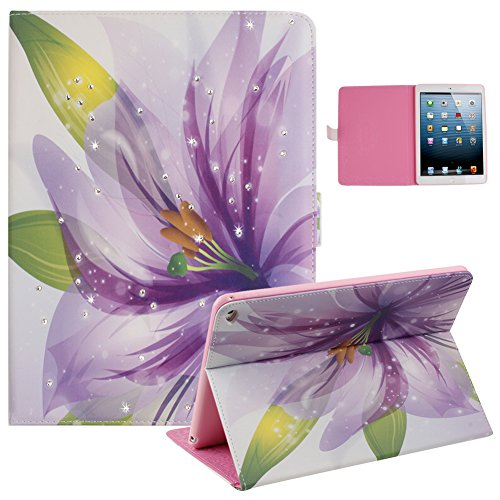 """iPad Air Case,Case for iPad 5,UZZO Cute Girl Shiny Diamond Bling Rhinestone Flowers Butterfly Pu Leather Book Style Folio Stand Protective Case Cover for iPad Air iPad 5 9.7"""""""