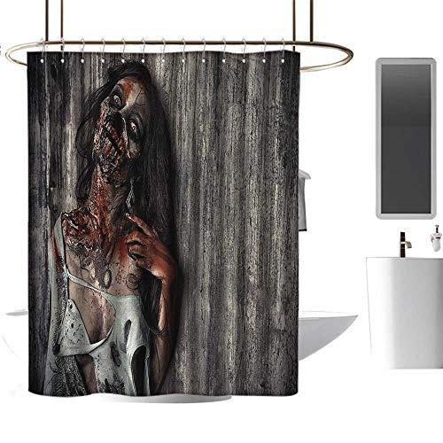 Qenuan Camper Shower Curtain Zombie,Angry Dead Woman Sacrifice Fantasy Design Mystic Night Halloween Image,Dark Taupe Peach Red,Durable Waterproof Fabric Bathroom Curtain 54