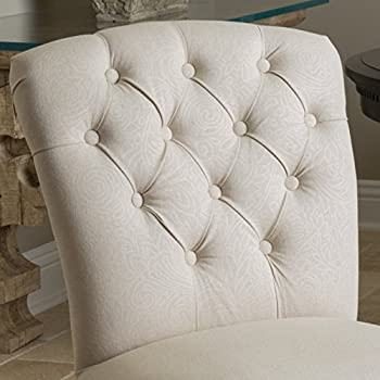 Christopher Knight Home 295416 Hallie Dining Chair (Set of 2), Linen with Scroll Pattern