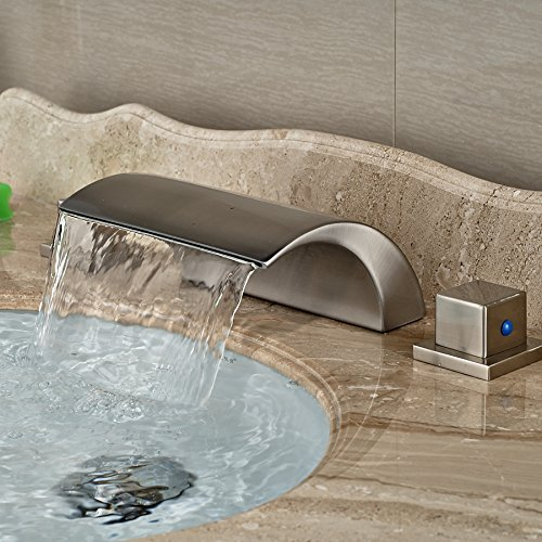 VanMe Basin Faucet Brand New Roman Waterfall Brushed Nickel Deck Mounted Vanity Sink Mixer Tap Double Handles
