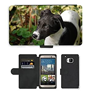 Hot Style Cell Phone Card Slot PU Leather Wallet Case // M00113362 Lurcher Puppy Canine Dog Pet Black // HTC One M9