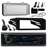 Kenwood KDCBT32 Bluetooth Radio USB AUX CD Player Receiver W/ Cover - Bundle With Install Dash Kit + Handle Bar Control + Enrock Antenna for 98 2013 Harley Touring Flht Flhx Flhtc Motorcycle Bike