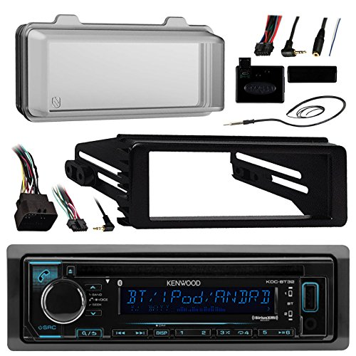 Kenwood KDCBT32 Bluetooth Radio USB AUX CD Player Receiver W/ Cover – Bundle With Install Dash Kit + Handle Bar Control + Enrock Antenna for 98 2013 Harley Touring Flht Flhx Flhtc Motorcycle Bike