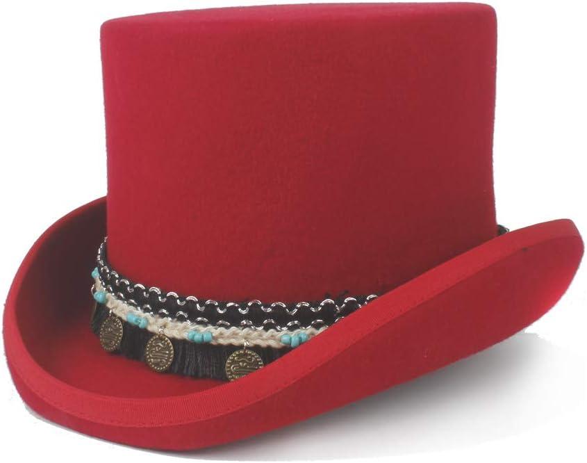 YuanBo Wu Mujeres Hombres Steampunk Sombrero de Copa 100% Lana Sombrero Loco Borla Trenzada Colgante Redondo Tradicional Sombrero de Copa Plano Sombrero Presidente Sombrero de Mago Steampunk