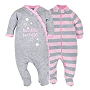 Gerber Baby Girls 2 Pack Organic Zip Front Sleep 'N Play, Grey/Light Pink, 0-3 Months