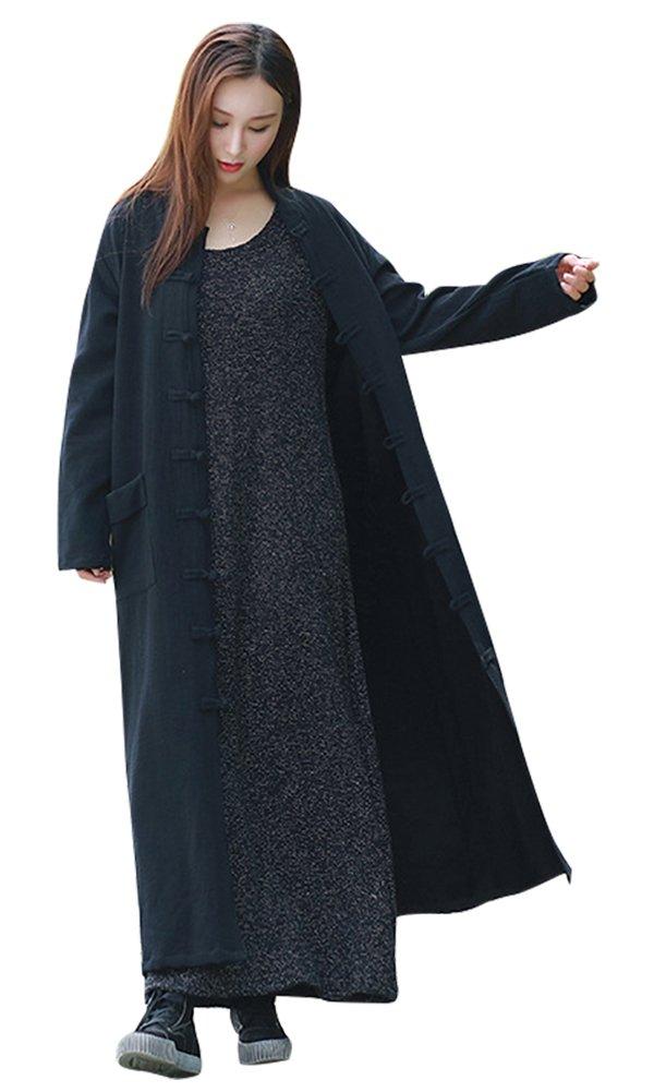 IDEALSANXUN Womens Vintage Stand Collar Front Button Cheongsam Qipao Style Dress Long Maxi Robe (Medium, Black)