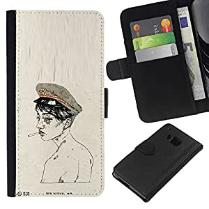 KingStore / Leather Etui en cuir / HTC One M7 / ;