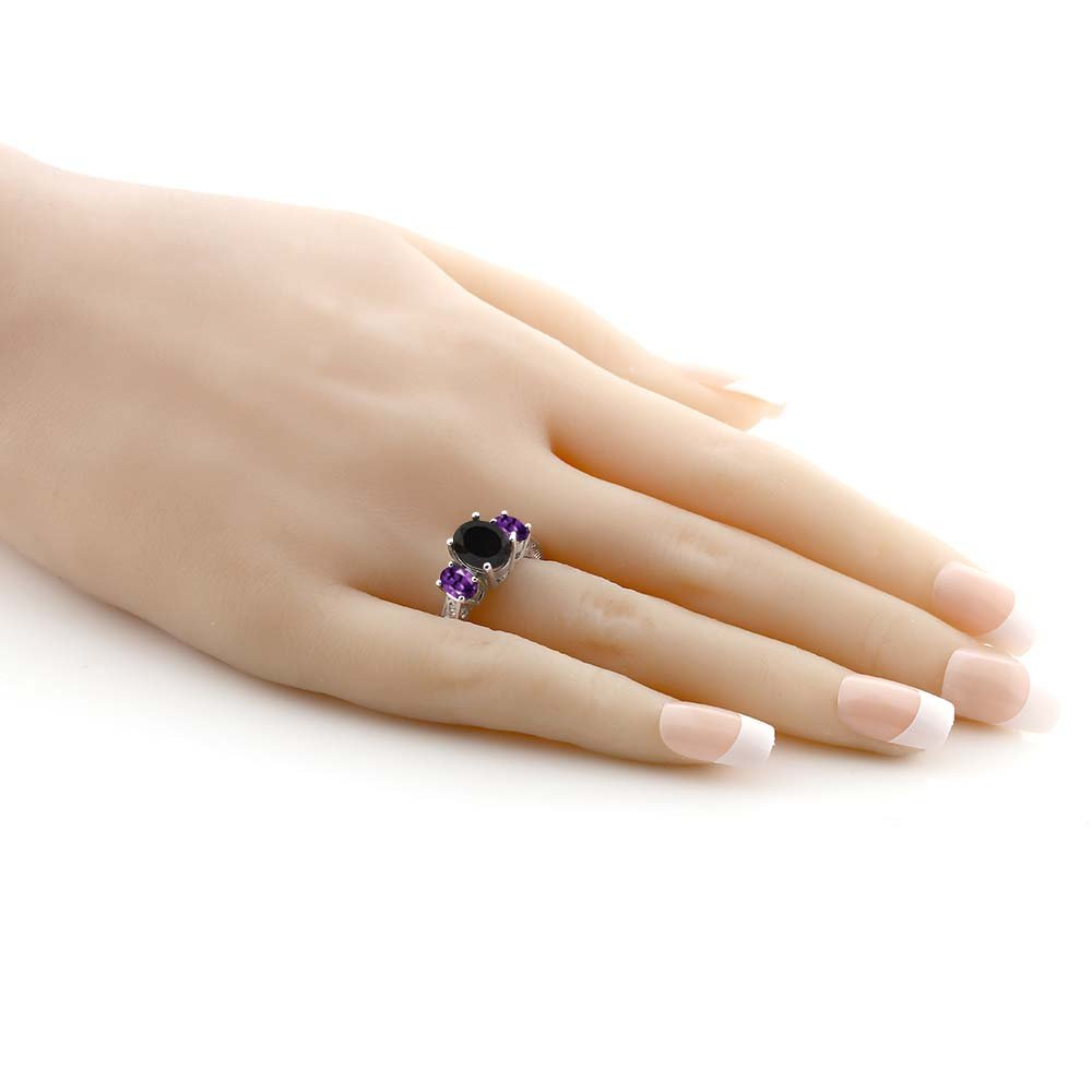 2.53 Ct Oval Black Onyx & Purple Amethyst 925 Sterling Silver 3-Stone Gemstone Women's Ring (Size 5) by Gem Stone King (Image #5)