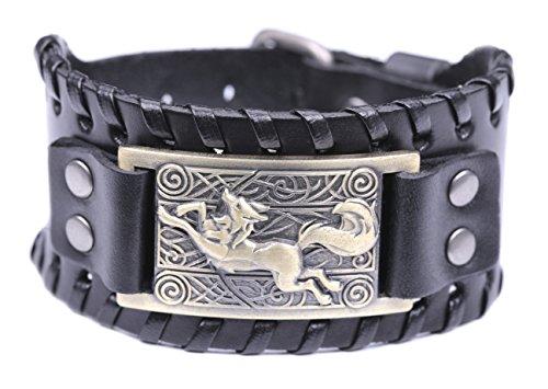 fishhook Celtic Knot Fox Smart Symbol Bangle Talisman Amulet Leather Bracelet (Antique Bronze,Black)