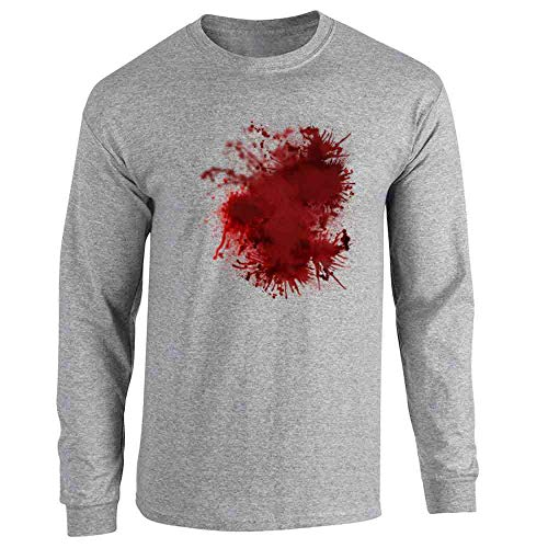 Pop Threads Blood Splattered Horror Bloody Halloween Costume Sport Grey L Long Sleeve -