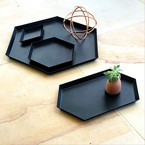 Serving Trays Coffee Table Bathroom Decor - Set of 4 Steel Geometric Matte Black Trays for Ottomans, Office Desk, Kitchen, Bedroom, Study | Displayed in Beautiful Gift ()