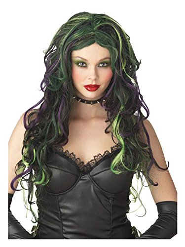 California Costumes Wicked Witch Wig, Black/Purple/Green, One Size
