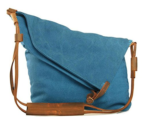 FXTXYMX Hobo Bags Canvas Cross Body Messenger Bags Handbag Totes Shoulder Purse Fold Over Bag for Men and Women (Blue) ()