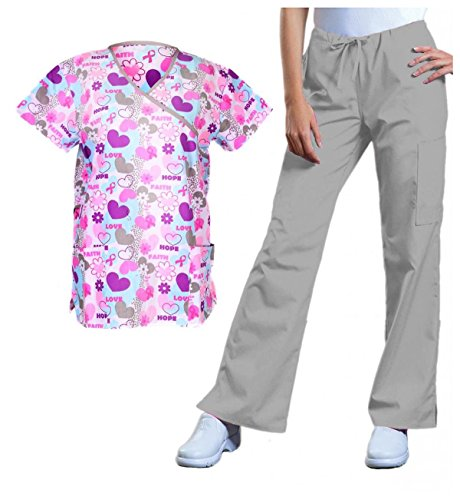 G Med Women's Pink Hearts Valentines Printed Medical Scrub Top(TOP-MED,GRY-M)