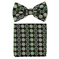 jacob alex #46437 formal Mens Pre-tied Bow Tie and hankie set Green gray dots party