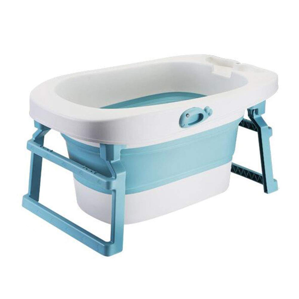 Foldable Baby Bath Tub-Portable Infant Oversized Non-Slip Bathing Tub/with Antiskid Cushion Net Mat/New Born Shower Basin