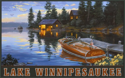Northwest Art Mall Lake Winnipesaukee Woodie Boat and Cabin Wall Artwork by Darrel Bush, 11 by - Lakes Mall