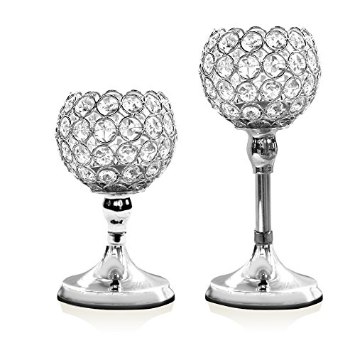 VINCIGANT Silver Crystal Pillar Candle Stand Holders Set of 2 Votive Tealight Candles/Modern Home Decor Gift Anniversary Celebration/Table Centerpieces,8 10 inches Tall