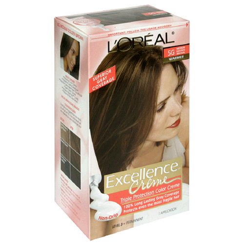 L'Oreal Excellence Triple Protection Color Creme, Medium Golden Brown/Warmer 5G (Pack of (Loreal Excellence Creme Triple Protection)