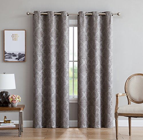 """Evelyn - Embossed Thermal Weaved Grommet Blackout Curtains - Room Darkening & Noise Reduction Fabric - Blocks up to 97% of Sunlight - Premium Draperies (Pair, 38""""W x 96""""L, Light Gray) from LinenZone"""